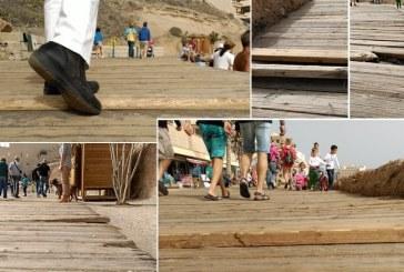 El peligroso estado de las tablas del paseo marítimo de El Médano