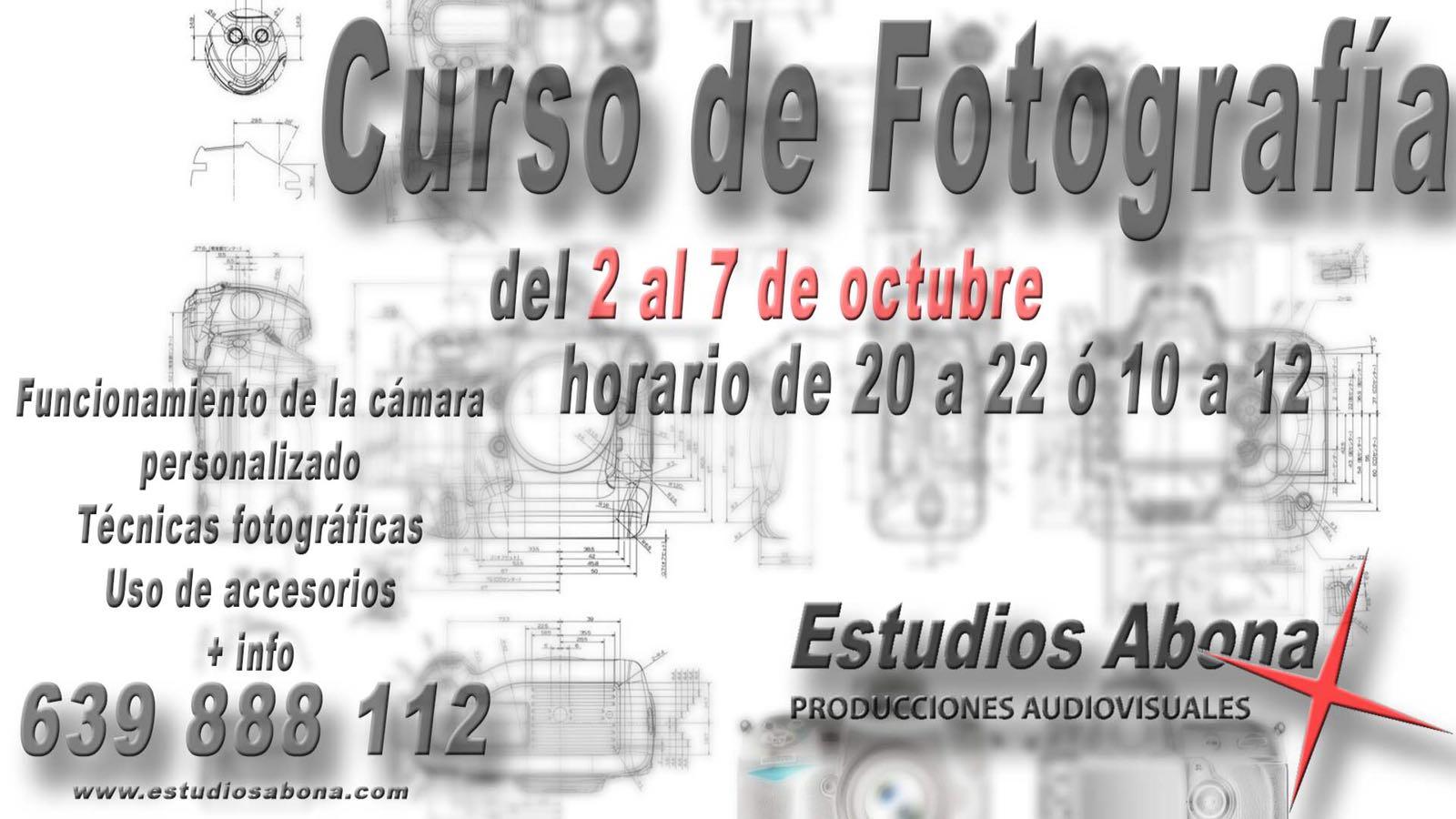'Curso de Fotografía' del 2 al 7 de octubre a cargo de Estudios Abona
