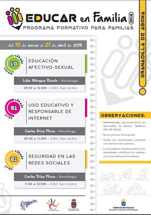 Los talleres 'Uso Educativo y Responsable de Internet' y 'Seguridad en las Redes Sociales' del Programa Educar en Familia 2018, este sábado en el SIEC