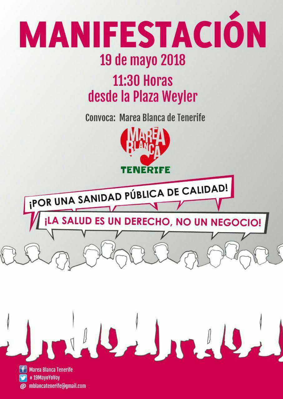 Manifestación 'Por la salud y la sanidad pública de calidad', este sábado a las 11:30 horas en Santa Cruz
