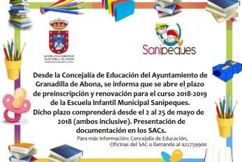 El plazo de preinscripción y renovación de plazas del curso 2018-2019 para la Escuela Infantil Municipal 'Sanipeques' finaliza este viernes
