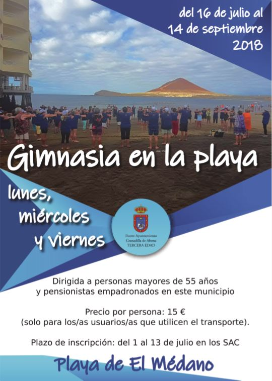 El plazo para inscribirse en la actividad 'Gimnasia en la Playa 2018' (para mayores de 55 años) finaliza este viernes
