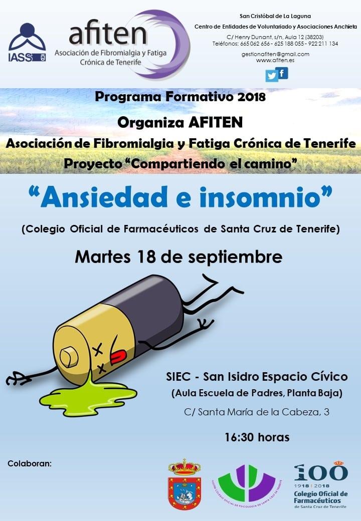 La charla 'Ansiedad e Insomnio', acción informativa del Proyecto 'Compartiendo el Camino' de AFITEN, esta tarde en el SIEC