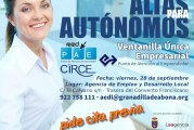El servicio de 'Ventanilla Única Empresarial' para darse de alta como autónom@ de forma gratuita, disponible este viernes y sucesivas fechas en la AEDL