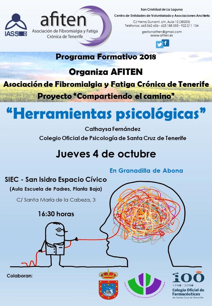 La charla 'Herramientas Psicológicas', cuarta acción informativa del Proyecto 'Compartiendo el Camino' de Afiten, este jueves en el SIEC