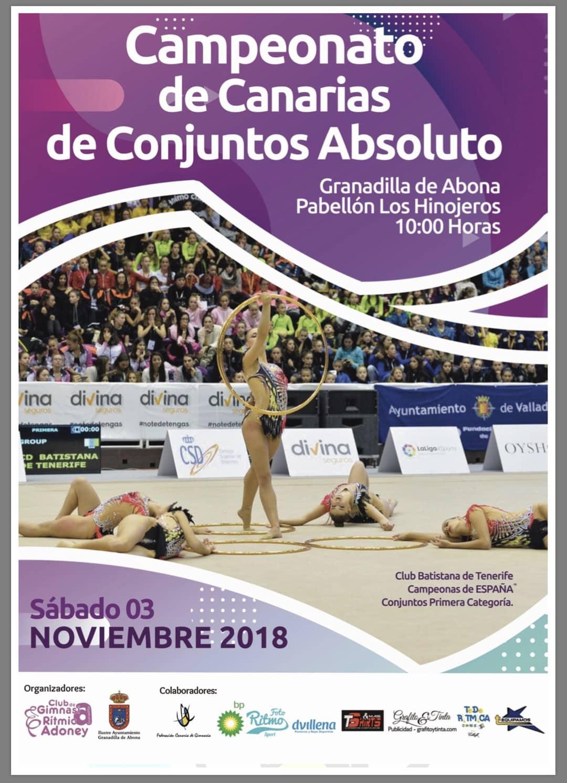 'Campeonato de Canarias de Conjuntos Absoluto' y 'Torneo de Base Individual y de Conjunto' de Gimnasia Rítmica, este sábado en el Pabellón Municipal de Deportes