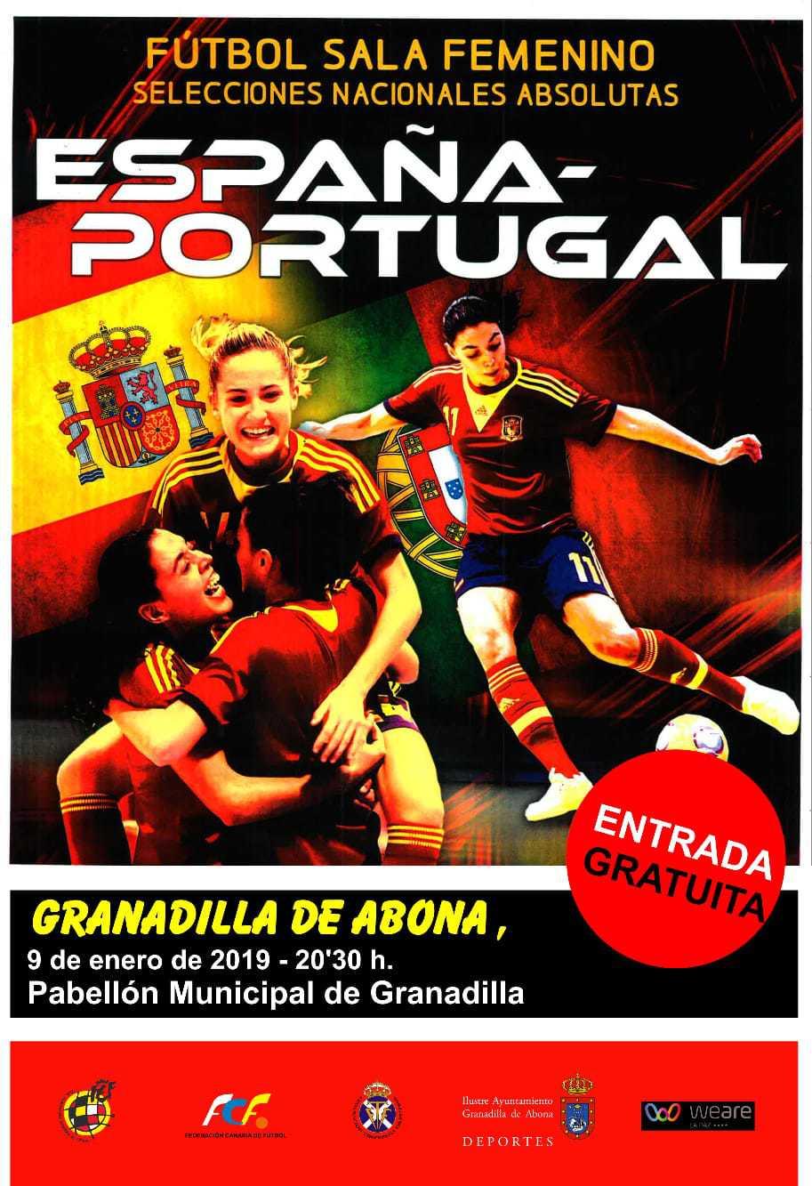 'España – Portugal' de fútbol sala femenino de selecciones nacionales absolutas, este miércoles en el Pabellón Municipal de Deportes