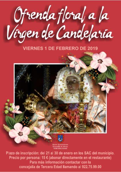 La inscripción a la actividad 'Ofrenda floral a la  Virgen de Candelaria' finaliza este miércoles