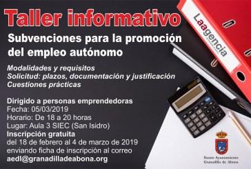 El plazo para inscribirse al taller informativo 'Subvenciones para la promoción del empleo autónomo' finaliza este lunes