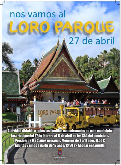 El plazo de inscripción a la actividad  intergeneracional 'Nos Vamos al Loro Parque' finaliza el próximo 17 de abril
