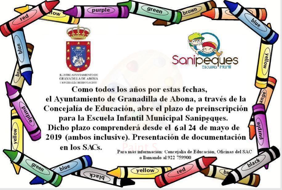 El plazo de pre-inscripción y renovación de plazas para la Escuela Infantil 'Sanipeques' finaliza este viernes