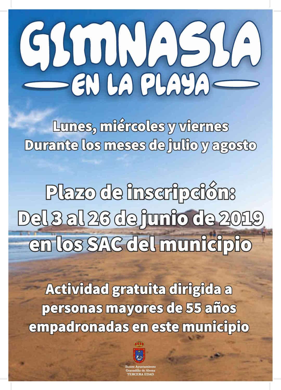 Las inscripciones a la actividad 'Gimnasia en la Playa 2019' para mayores de 55 años, hasta el 26 de junio