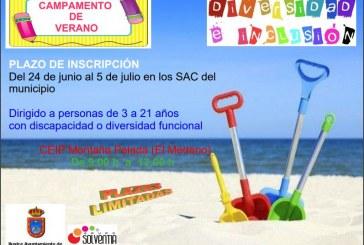 El plazo de inscripción al 'Campamento de Verano para personas con discapacidad o diversidad funcional' a realizar en El Médano finaliza el 5 de julio