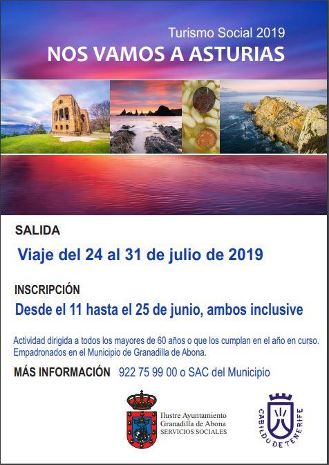 El plazo para inscribirse al viaje 'Nos Vamos a Asturias' del Programa de Turismo Social 2019 finaliza este martes