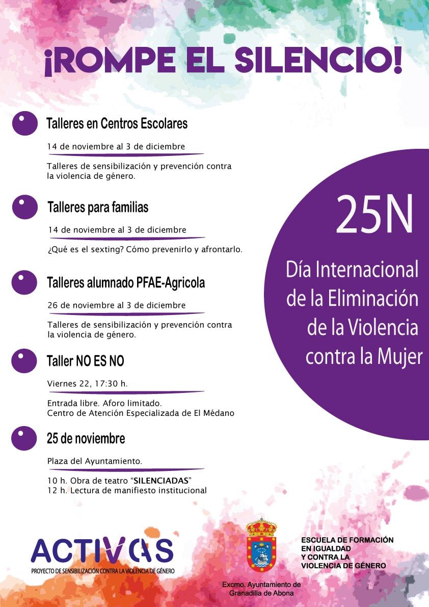 Actividades con motivo del 'Día Internacional para la Eliminación de la Violencia hacia las Mujeres', del 13 al 25 de noviembre bajo el lema '¡ROMPE EL SILENCIO!'
