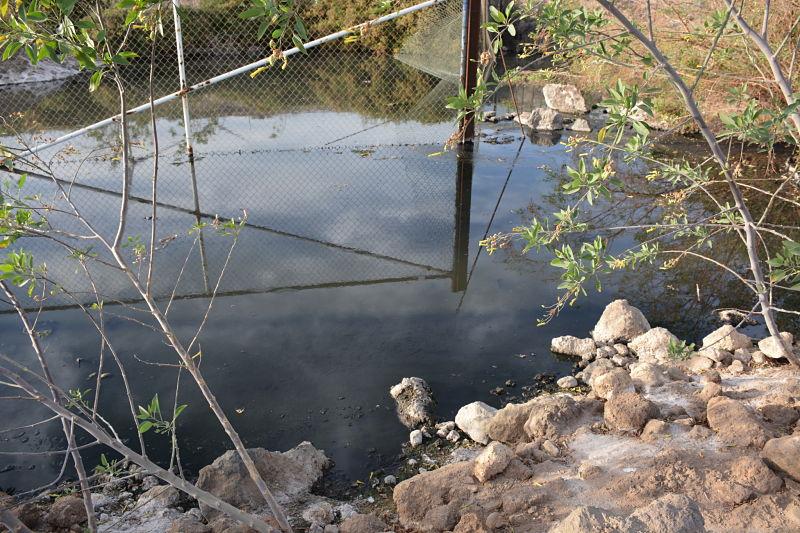 Una laguna nauseabunda de aguas residuales en la costa del ...